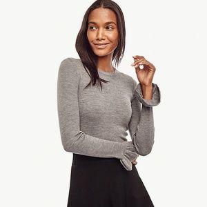 Ann Taylor Merino Wool Ruffle Cuff Sweater